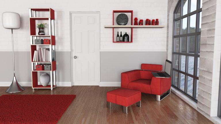 תמונה של סלון בצבע אדום עם רהיטים מעוצבים מעץ מלא