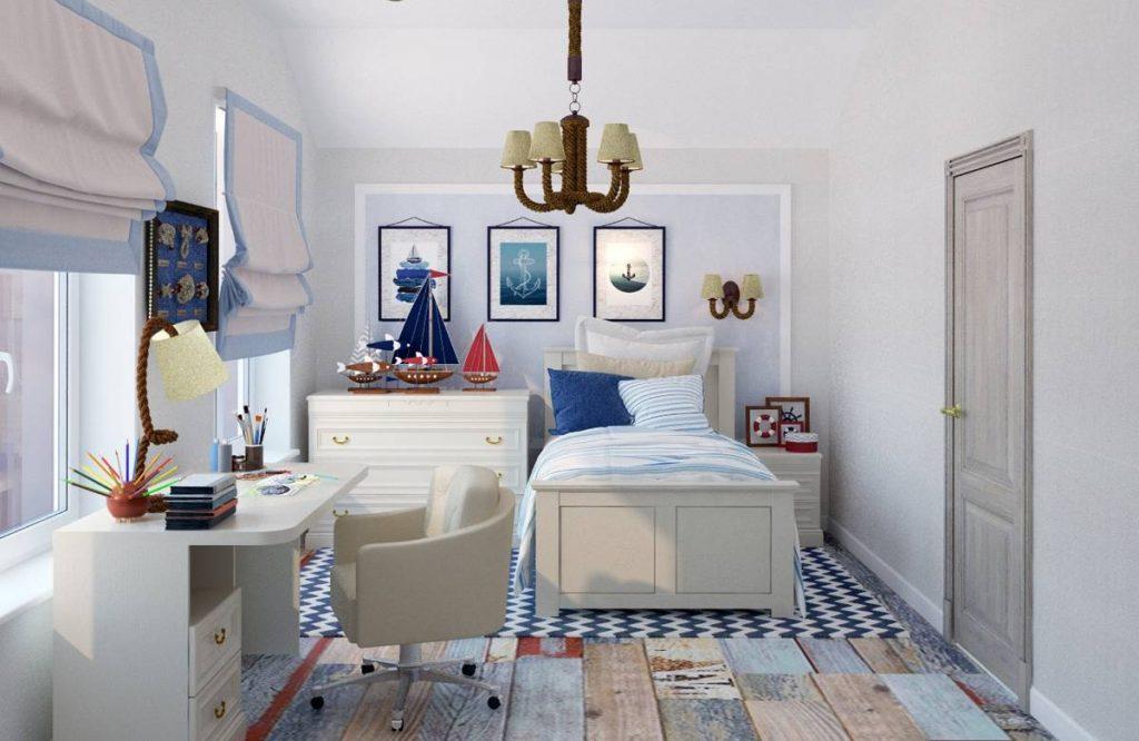 תמונה של חדר שינה עם עיצוב רהיטים מעץ מלא
